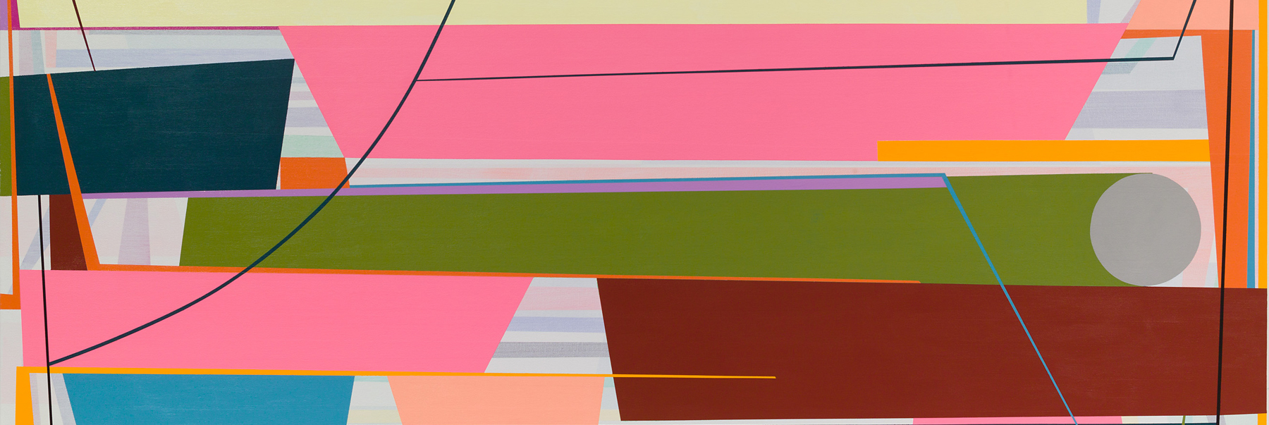(detail) Gary Petersen, Spin Out, 2016, acrylic on canvas, 48 x 84 inches (courtesy of the artist and McKenzie Fine Art, New York)