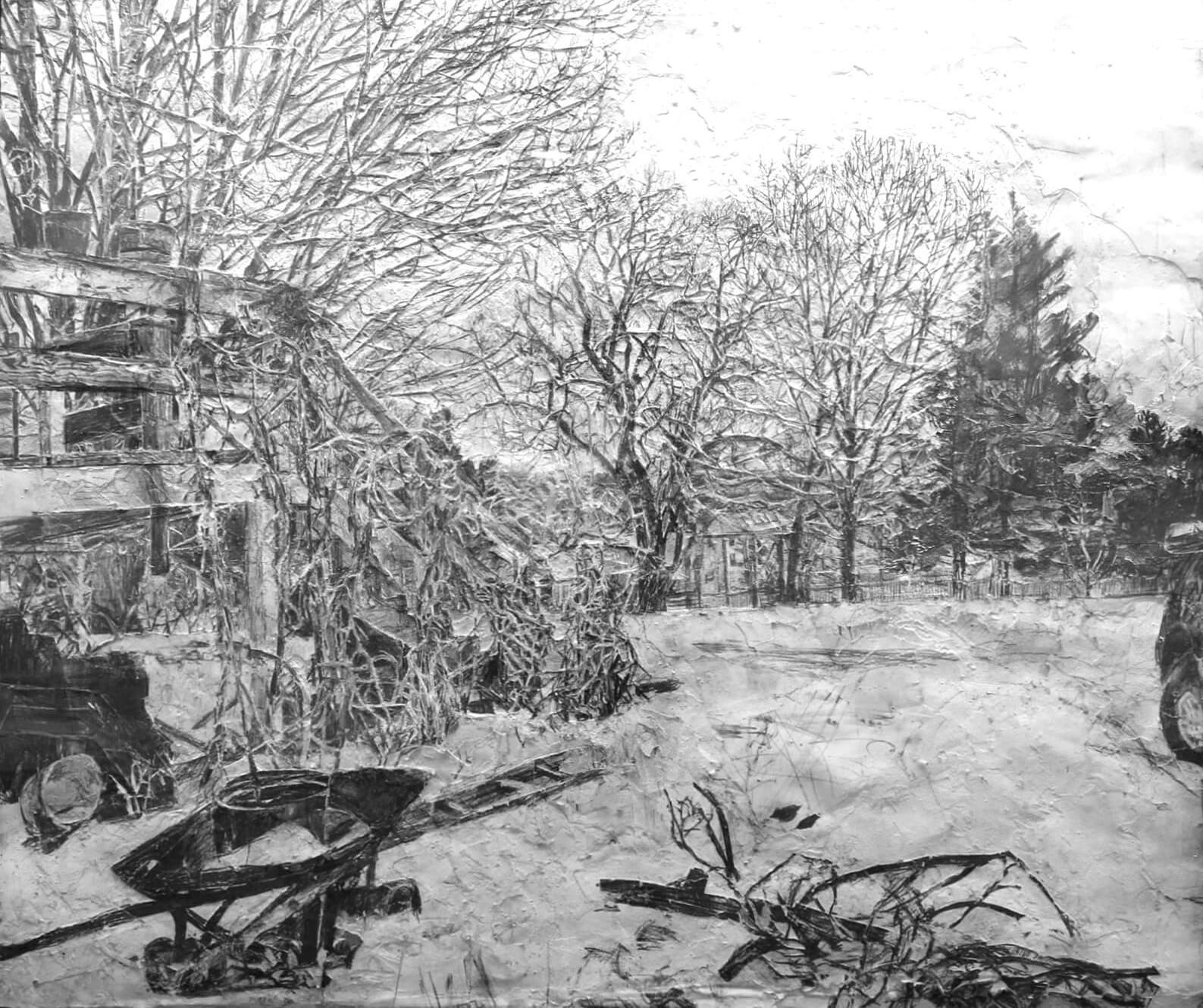 (detail) Stanley Lewis, View from Studio Window, 2003-4, graphite on paper, approx. 45 x 51 inches (From the Louis-Dreyfus Family Collection, courtesy of The William Louis-Dreyfus Foundation Inc.)