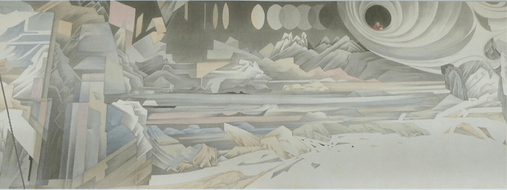 (detail) Hao Liang, Streams and Mountains without End, 2017, ink and color on silk, 16 11/16 × 395 1/4 inches (© Hao Liang)