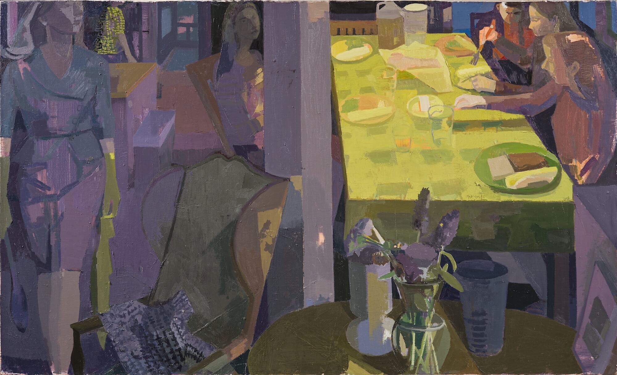 Susan Lichtman, Equinox Meal, 2016, oil on linen, 40 x 66 inches (courtesy of Steven Harvey Fine Art Projects)