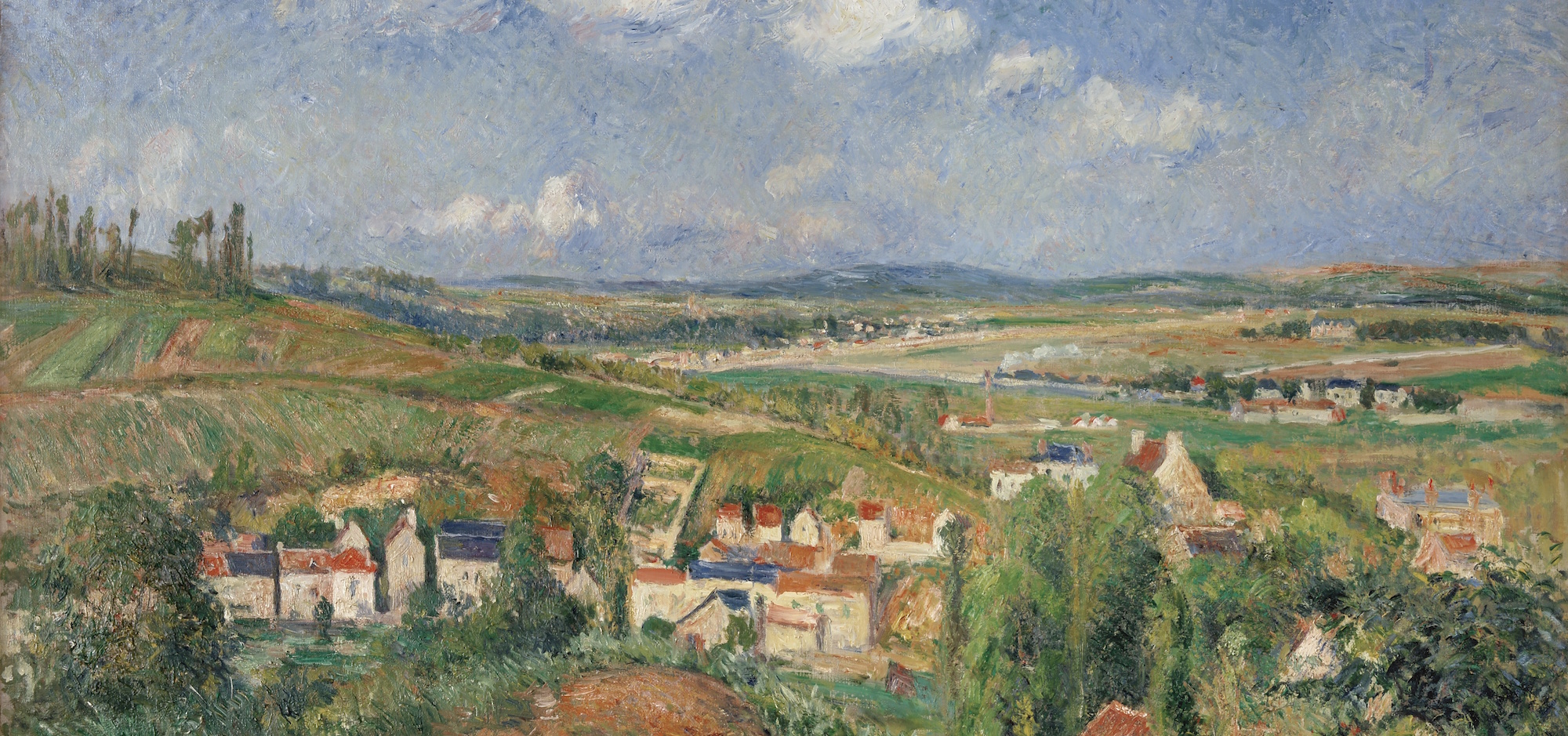 (detail) Camille Pissarro, L'Hermitage in Summer, Pontoise, 1877, oil on canvas, 22 3/8 x 36 inches (Helly Nahmad Gallery, New York)