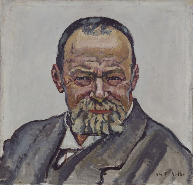 Ferdinand Hodler, Self-Portrait, 1916, oil on canvas,15 3/8 x 16 inches (Aargaue