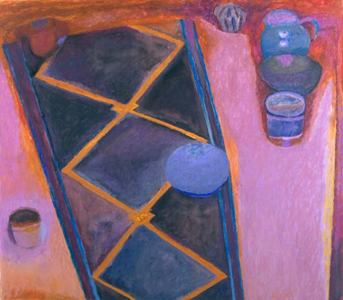 Joseph Ablow, Still Life with Kilim (courtesy of Boston University Stone Gallery