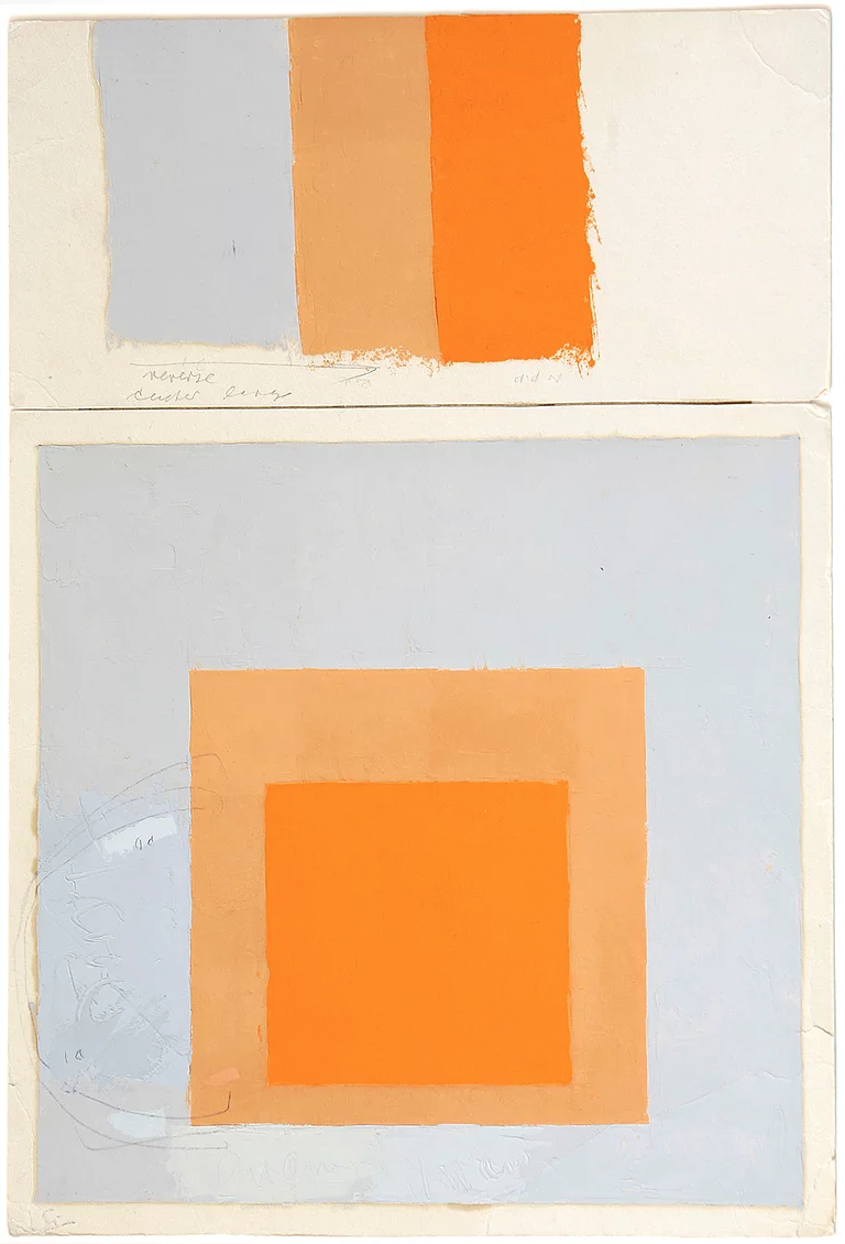 Josef Albers, Study for Homage to the Square with color study (Study for Arctic Bloom), ca. 1965, oil on blotting paper, 12 x 12 inches (The Josef Albers Museum Quadrat Bottrop, © 2017 The Josef and Anni Albers Foundation / ARS, NY)