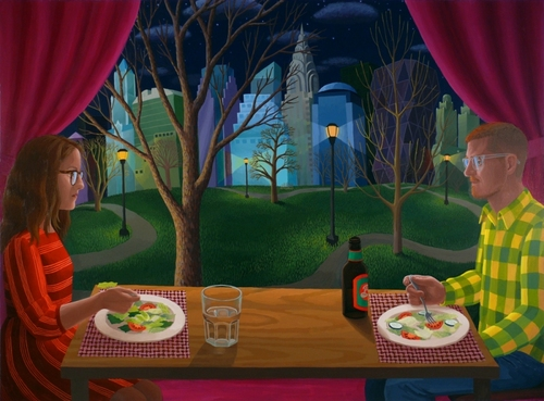 Amy Lincoln, Dinner Table with A and K, 27.5 x 37 inches, acrylic on mdf, 2012 (