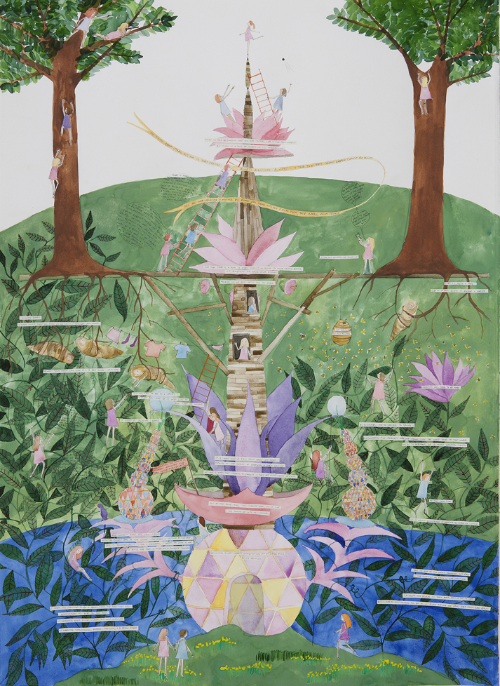 Amy Wilson, A Utopic Vision, After Bosch (Seasteading) 2011, watercolor, pencil,