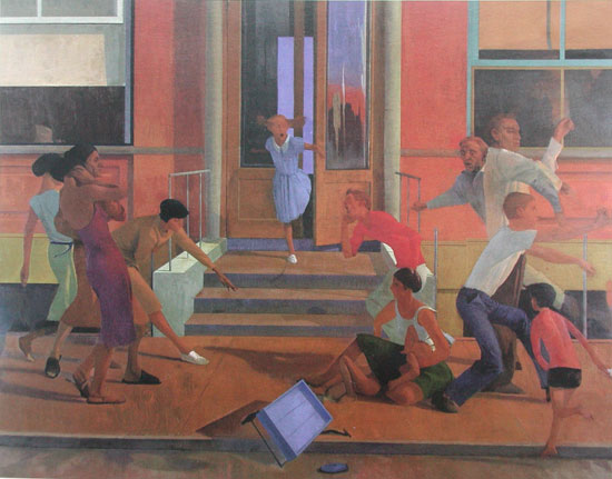 Lennart Anderson, Street Scene, 1961, oil on canvas, 77 x 99 inches (Collection