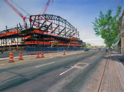 Andrew Lenaghan, New Stadium, Atlantic Avenue, 2011, oil on panel, 24 x 32 inche
