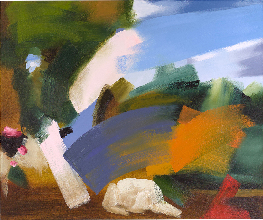 Elise Ansel, Venus and Adonis, 2016, oil on linen, 60 x 72 inches  (Luc Demers / Courtesy of Danese/Corey, New York)