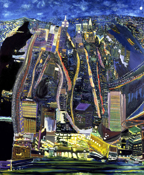 Olive Ayhens, Cat in the Night, oil on canvas, 48 x58 inches,1999 (courtest of t