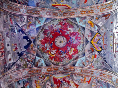 Painted ceiling of Badal Mahal, Bundi Palace, Bundi, India, circa 1605