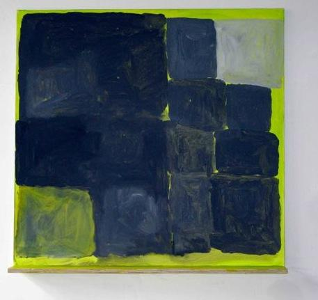 Helen Baker, Blocks on Green with Shelf, 2012, acrylic on linen with plywood she