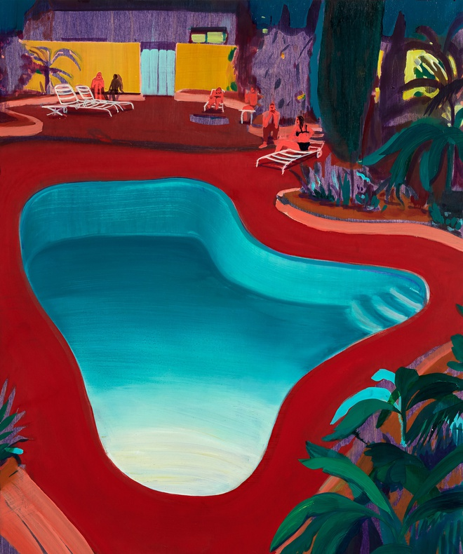 Jules de Balincourt, Valley Pool Party, 2016, oil on panel, 24 x 20 inches (cour