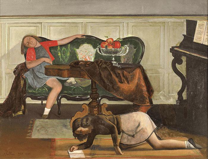 Balthus, The Salon, 1941-43, oil on canvas, 44.5 x 57.75 inches (courtesy Minnea
