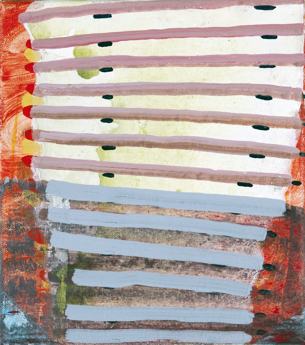 Barbara Campbell Thomas, Line pile, 2010, acrylic on canvas, 9 x 8 inches