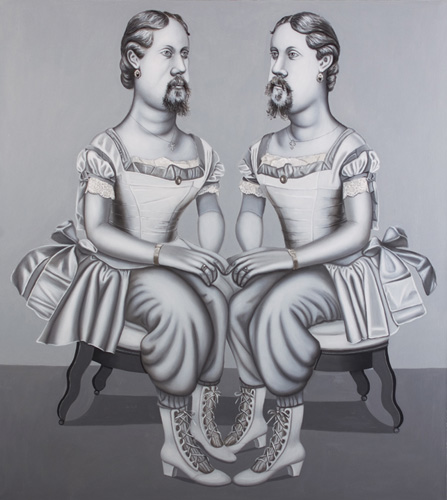 Hannah Barrett, The Chesterly Sisters, 2007, oil on linen, 40 x 36 inches (court