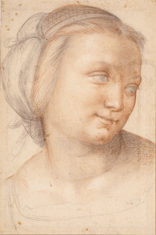 Fra Bartolommeo, Study for the face of a young woman (in the Madonna della Misericordia) c. 1515 (Museum Boijmans Van Beuningen, Rotterdam)