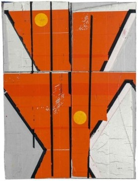 Dominic Beattie, Untitled, 2014, ink, tape, aluminium, spray paint, and collage