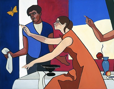 (detail) Leland Bell, Family Group with Butterfly, 1986–1990, acrylic on canvas,