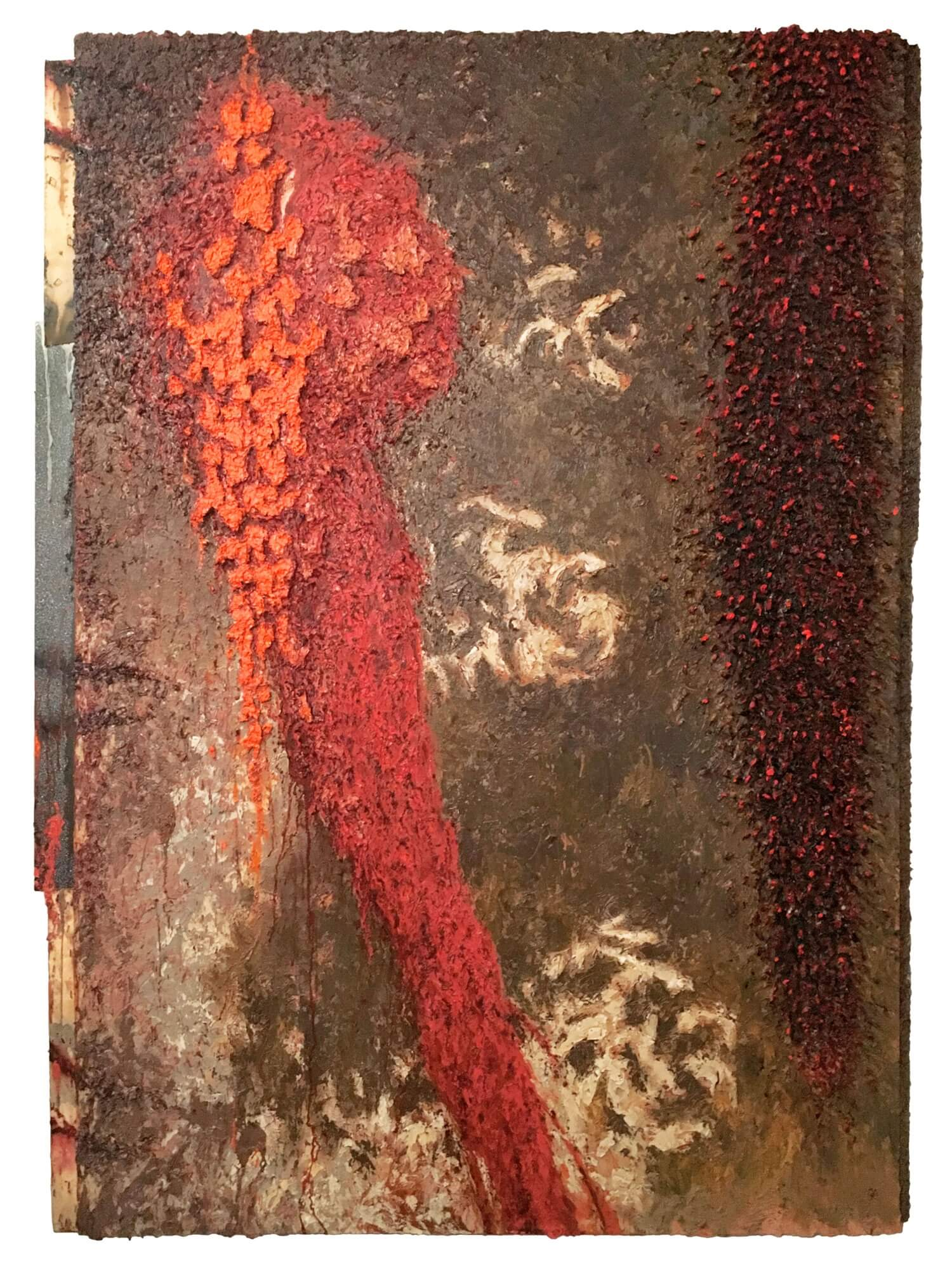 Len Bellinger, pox populi, 1994-95, oil, staples, formica, canvas on canvas, 71.5 x 48 inches (courtesy of David & Schweitzer Contemporary)
