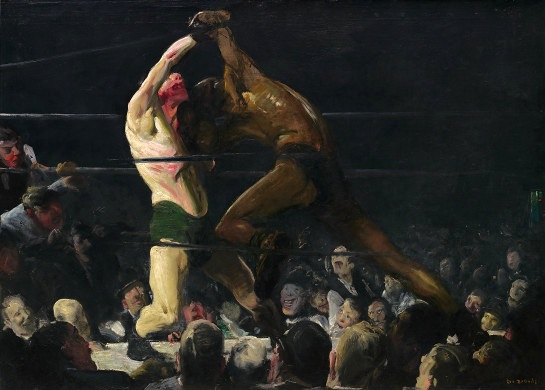 George Belllows, Both Members of This Club, 1909, oil on canvas, 45 1/4 x 63 3/1