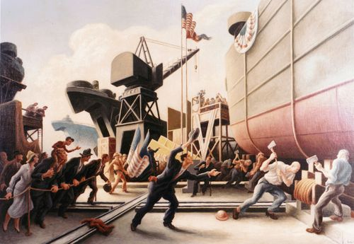 Thomas Hart Benton, Cut The Line, 1944, oil on board, Navy Art Collection, Naval