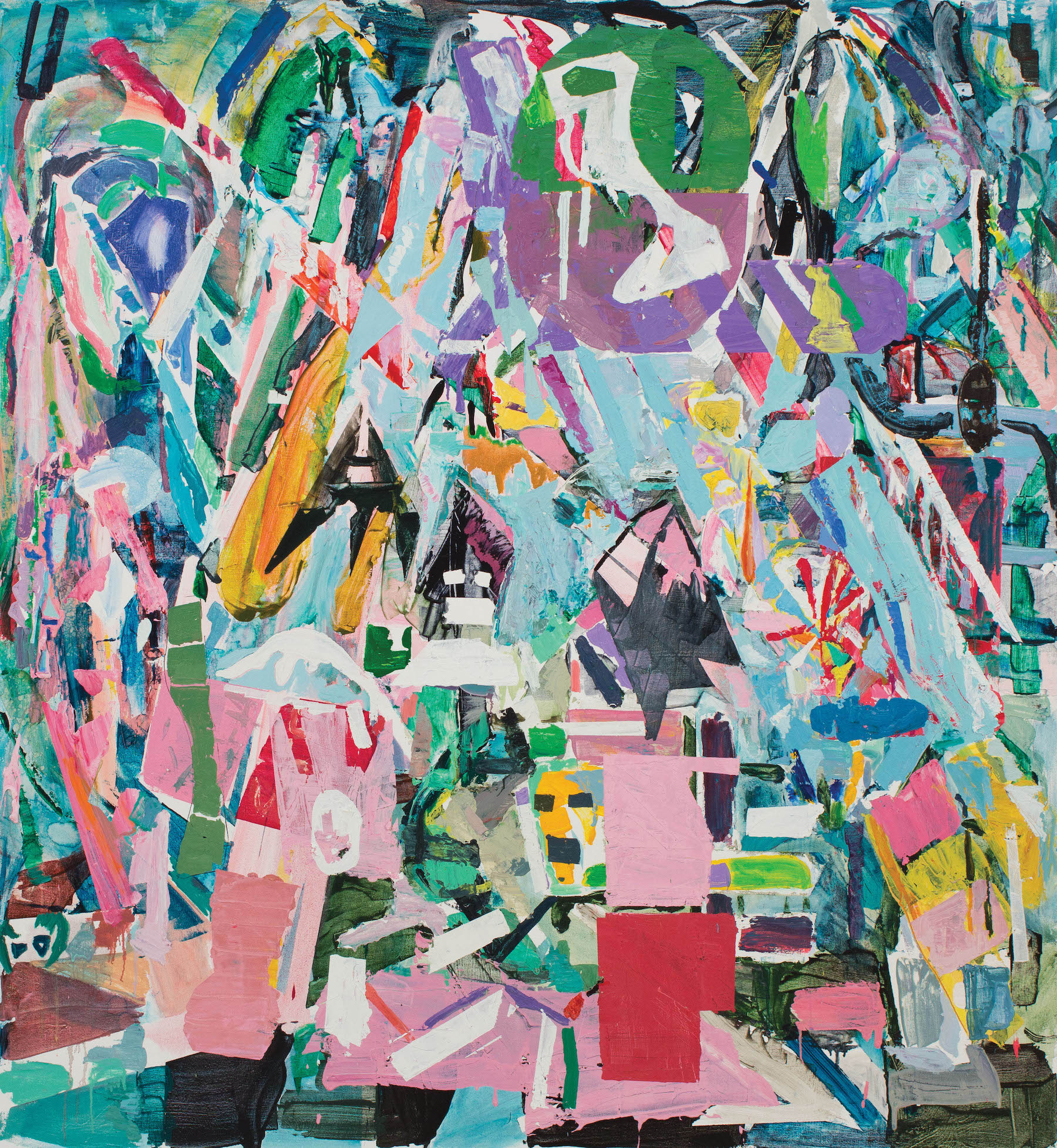 Thomas Berding, Surplus Mound, 2016, oil, acrylic  and flashe on canvas, 76 x 70 inches (courtesy of the artist and The Painting Center)