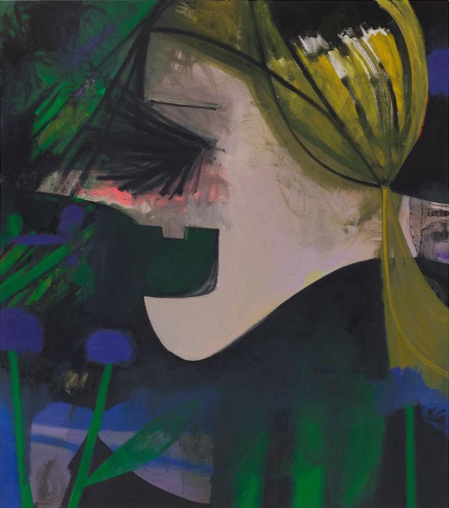 Ellen Berkenblit, Nite Vibe, 2015, oil, charcoal and mono print on linen, 86 x 7