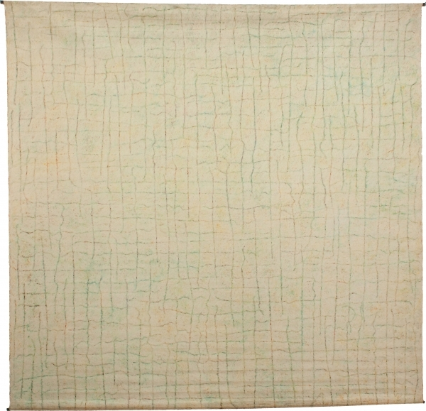 McArthur Binion, Circuit Landscape: No. VI, 1973, oil stick on canvas, 92 x 94 i