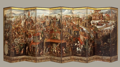 Folding Screen with the Conquest of Mexico (front), photo © 2011 Museum Associat