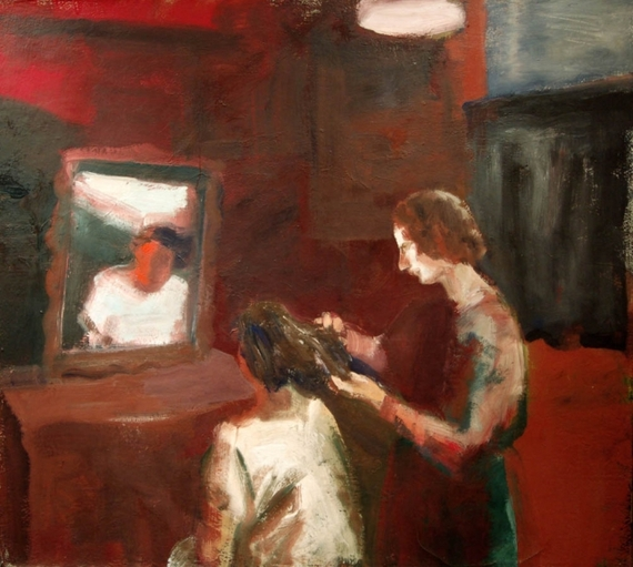 Elmer Bischoff, Girl Geting a Haircut, 1962, oil on canvas, 63 x 70 inches (cour