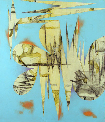 Jeffrey Bishop, Blue Turk, 2009, oil, acrylic, and charcoal on canvas, 30  x 26