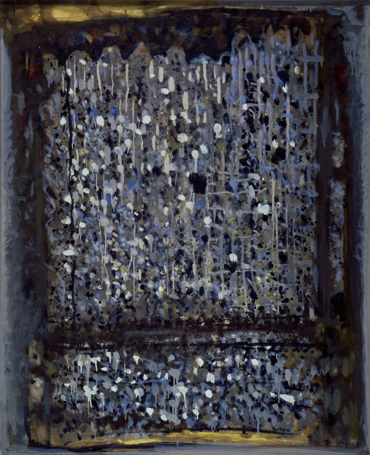 Roger Bissière, Silence du crepuscule, 1964, oil on mattress ticking, 39-3/8 x 32 inches (© Bissiere/ADAGP)