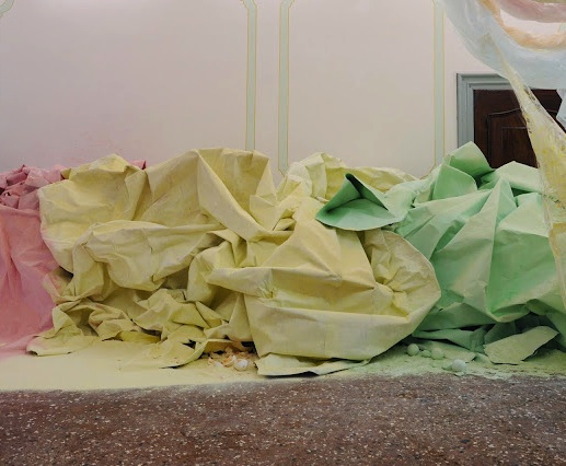 Karla Black, At Fault (detail), 2011, cellophane, paint, sellotape, plaster powd