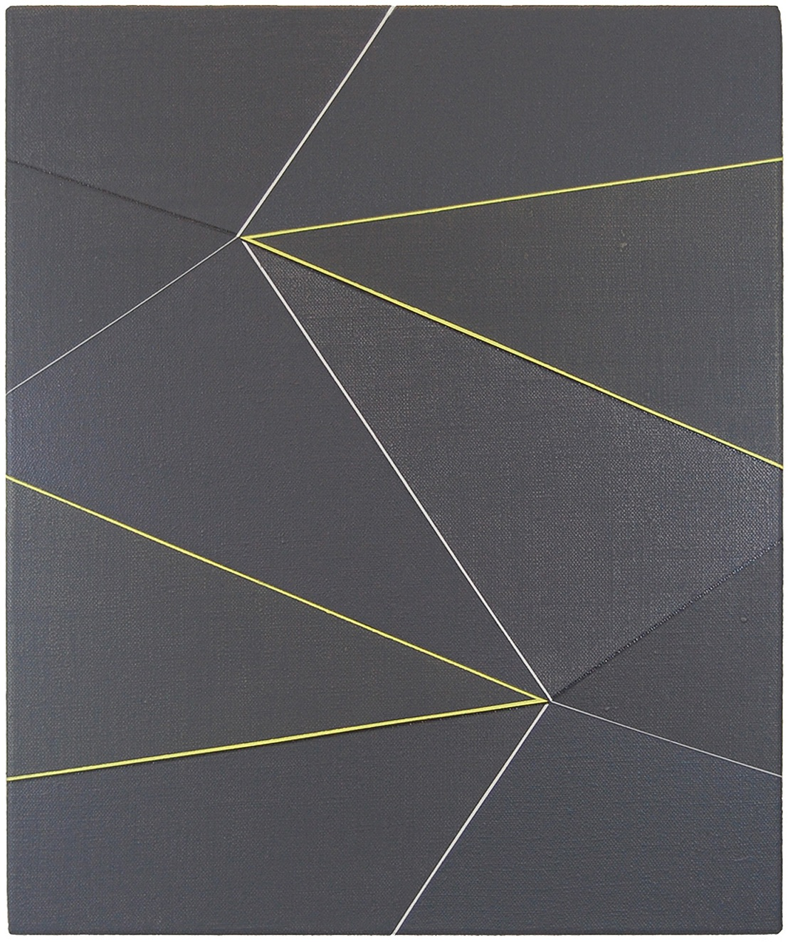 Katrina Blannin, Double Hexad Black Yellow, acrylic on Linen, 60 x 50 cm, 2013 (