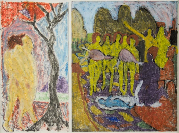 Bob Thompson, Study for Expulsion and Nativity, 1966, oil pastel and ink on pape