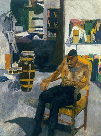 Bob Thompson, Self Portrait in the Studio, 1960, oil on board, 40 x 30 inches (M