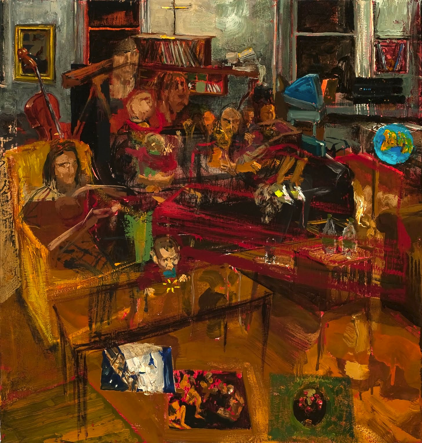 Gideon Bok, Jack Tarmy and the Electric Landlady, 23 x 22 inches, 2007-2010, oil