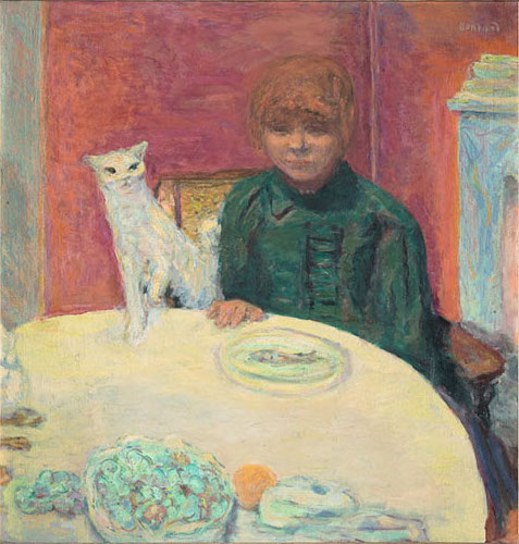 Pierre Bonnard, Woman with Cat, or The Demanding Cat, c. 1912, oil on canvas (Mu