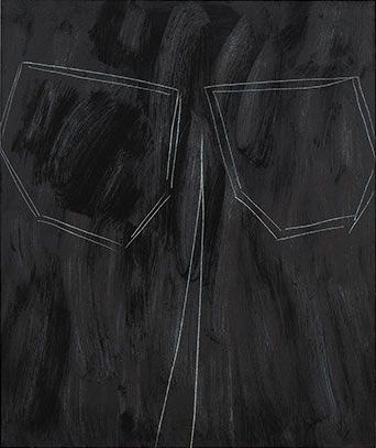 Robert Bordo, skinny jeans, 2016, oil on canvas on panel, 50 x 42 inches (courte