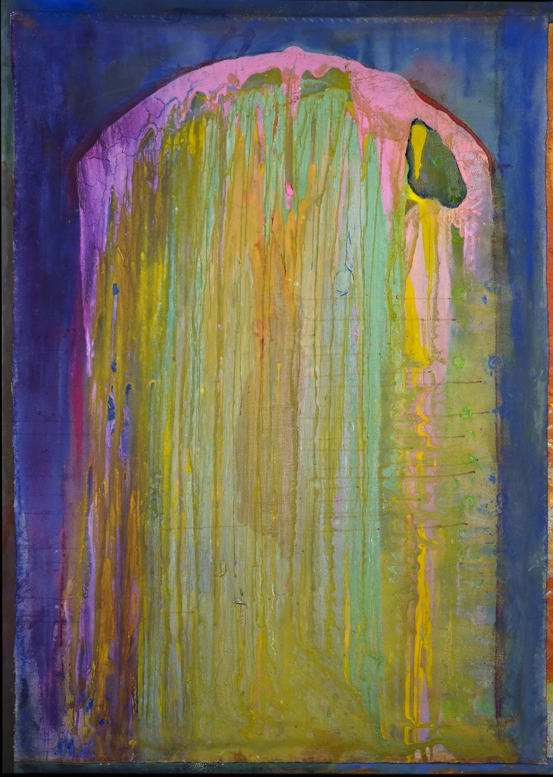Frank Bowling, Upright, 2012, acrylic on canvas, 74 x 53 inches (courtesy of Spa