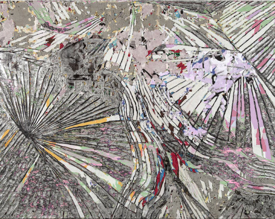 Mark Bradford, No Time to Expand the Sea, mixed media collage on canvas (courtes