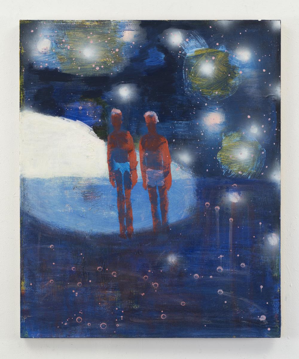 Katherine Bradford Couple on the Moon, 2016, acrylic on canvas, 44 x 36 inches (