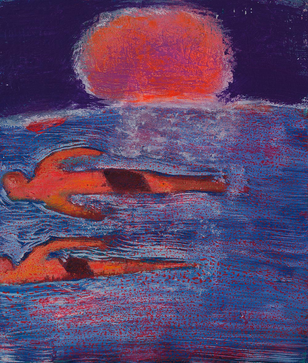 Katherine Bradford, Couples Swim, 2015, acrylic on canvas (courtesy the artist and CANADA Gallery, New York)