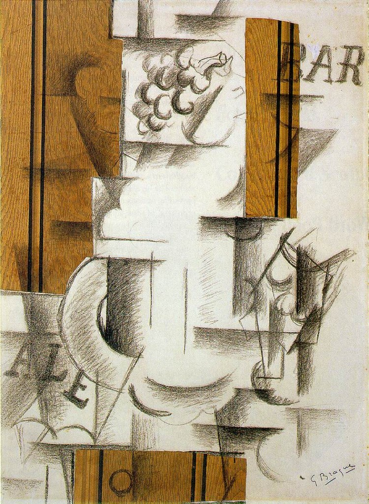 Georges Braque, Fruit dish and glass, 1912, papier collé and charcoal on paper (