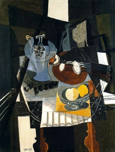 Georges Braque, Still Life with Fruit Dish, Bottle and Mandolin, 1930 (collectio