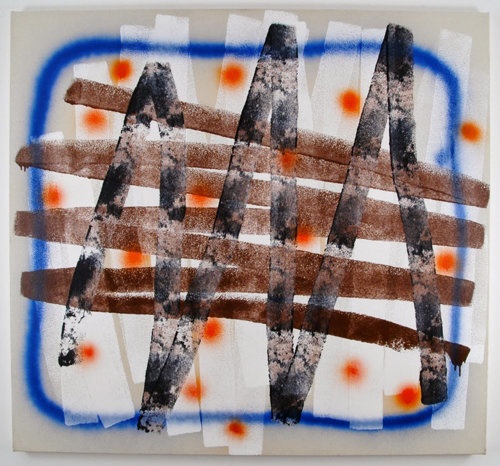 Rick Briggs, Arena, alkyd and spray paint on canvas, 50 x 54 inches, 2014 (court