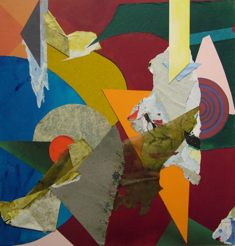 John Bunker, Falling Fugue, 2014, mixed media collage on MDF, 54 x 52.5cm (court