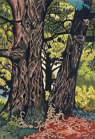 Charles Burchfield, Chestnut Trees, 1916, gouache, watercolor, and pencil on pap
