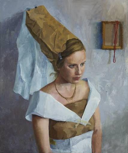 Avital Burg, Potrait of Adi as Maria Portinari, 2014, 60 in x 50 inches, oil on